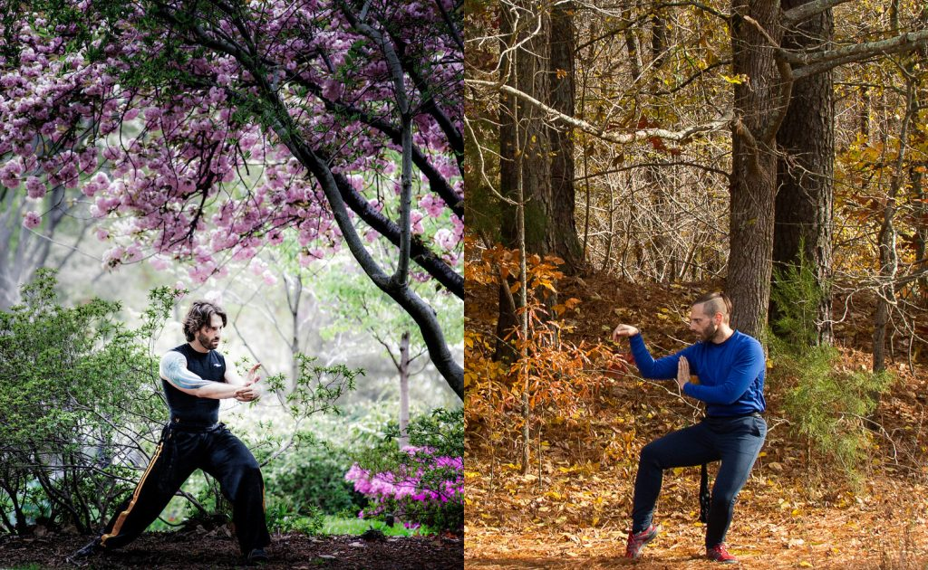 Matto doing Tai Chi in Union Park, Washington DC in 2012 (left), and Matto practicing Kung Fu in Hillsborough, North Carolina in 2019 (right)